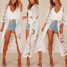 Womens Floral Lace Cardigan Half Sleeve Sunscreen Long Coat Bikini Cover Up Tops