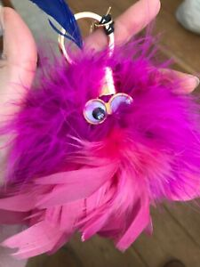 SOPHIE HULME PINK feather bag charm eyes bnwt keyring