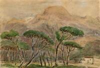 TREES & MOUNTAINS VIAREGGIO ITALY Watercolour Painting c1880 IMPRESSIONIST