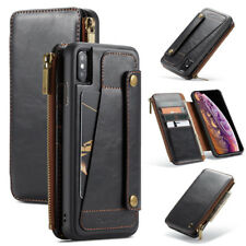 Caseme Leather Wallet Case Removable Zipper Holder Cover for iPhone X XR XS Max