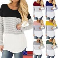 Women Pregnant Nursing Baby Maternity Long Sleeved Stripe T-Shirt Blouse Clothes