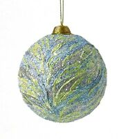 """Jim Marvin 4"""" Dia. Flame Stitch Ball Ornament Blue/Green/Silver Nonbreakable"""
