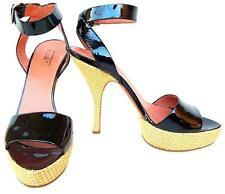 Alaia Black Patent Leather Raffia Platform Sandal Sz 38.5 (US 8)