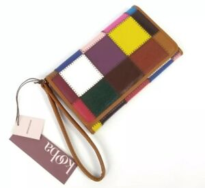Kooba Wallet Multicolored Leather Patchwork Flap Wristlet Pink Blue Red New NWT