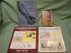"""4 Different """"How To Draw The Human Figure"""" Books, Various Authors"""