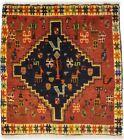Vintage Tribal Oriental Rug 2X2 Square Wool Handmade Farmhouse Kitchen Carpet