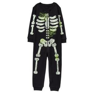 NWT Gymboree Skeleton Glow-in-the-Dark Boy Girl Gymmies Pajamas Romper 6-12 M