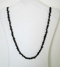 """Black Tourmaline Natural Chip Stones Small Beads Strand 32"""" Necklace. NWT  SBBT"""