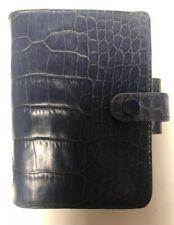 Filofax Rare Mini Ascot Croc Print Italian Leather Organiser Blue Made in USA