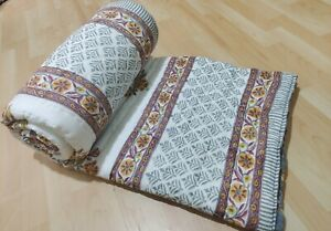 Hand Block Print Quilt Cotton Filled Quilt Ultra Warm Soft and Cozy Quilt New