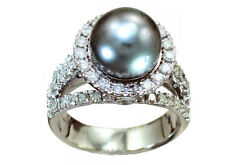 0,90 ctw diamante y perla Tahitiana fijado en 18 K anillo de oro blanco