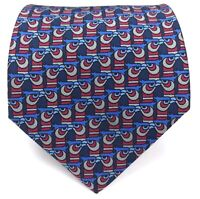 """Hermes Tie 7273 MA Made in France 100% Silk Necktie Eagle Blue Red Gray Tie 56"""""""