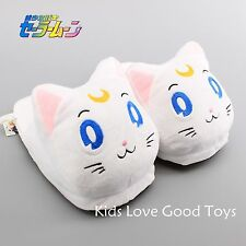 New Sailor Moon White Artemis Cat Luna Soft Plush Stuffed Slipper Shoes 11''
