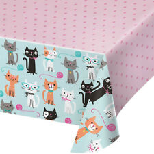 Purrfect Cat Plastic Party Tablecover Cat Lover Birthday Party Kitten Tablecloth
