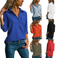 UK Women Collared Plain Baggy Shirt Ladies Long Sleeve Solid Blouse Plus Size