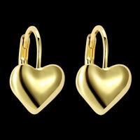 Women's Heart Hoops Earrings 18K Yellow Gold Filled Charms Fashion Jewelry Gift