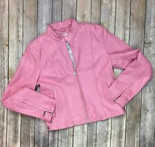 Wilsons Leather Maxima Women Small Pink Full Zip Moto Cropped Jacket Motorcycle