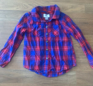old navy girl blue red plaid flannel shirt button 5T