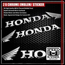 "2 X 6.25""x 1.5"" 3D ABS HONDA WING LOGO EMBLEM DECAL+LETTER STICKER CHROME SILVER"