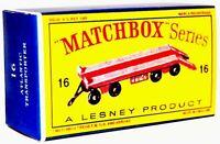 Matchbox Lesney No 16 SUPER ATLANTIC TRAILER   Repro D style Empty Box
