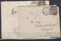 GB QV 1887 1d Lilac Covers To Ireland x 2 Postal History JK456