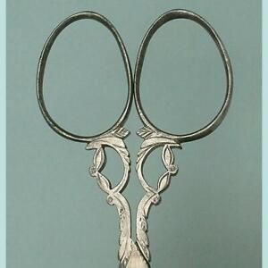 Tiny Antique Cut Steel Embroidery Scissors * French * Circa 1870