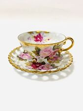 Shafford Cabbage Roses Teacup Saucer Hand Decorated Japan