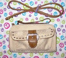 KATHY VAN ZEELAND Signature Beige and Brown CROSSBODY Wallet Purse Size Small