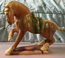 Vintage Chinese China Tang Dynasty War Horse Figurine Statue Drip Glaze Pottery