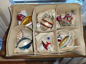 14 Vintage Mix  Poland Glass Christmas Decorations Ornaments