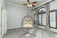 Indoor Hanging Chair with Cushion Wicker Egg Chair with Stand Patio Swing