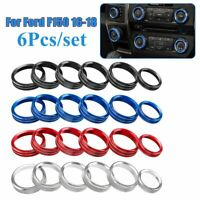 6Pcs Air Conditioner & Audio Switch Knob Ring Cover Trim For Ford F150