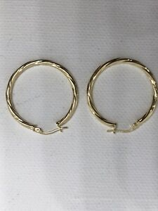 9ct 375 Hallmarked Solid Yellow Gold Hoop Earring 30mm