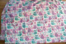 Colorful Pastel Owls Full Flat Sheet Used