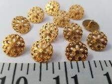New listing Vintage Buttons Set Of 12 Tiny Brass Gold Metal Design Tuz2618 Last!