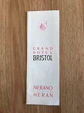 Vintage 1950's 1960s Grand Hotel Bristol Merano Italy Brochure + price List