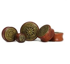 """PAIR of """"Sundial"""" Saddle Ear Plugs/Tunnels (Wood / Tin Alloy) 12mm-30mm"""