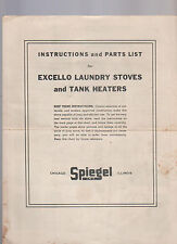 Excello Laundry Stoves & Tank Heaters Instructions & Parts List Spiegel 1940s