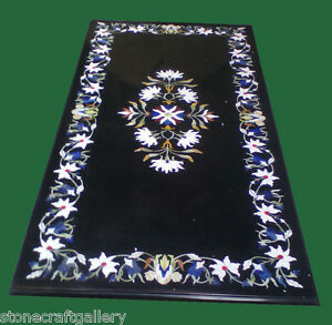 """48"""" x 24"""" Black Marble Coffee Table Top Marquetry Floral Inlay Art Decor"""