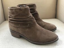 TAMARIS BROWN NUBUCK SUEDE LEATHER RUCHED ANKLE BOOTS SIZE 39 (US 8)