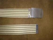C&A Très jolie ceinture en toile rayée beige et marron boucle argentée - Neuve