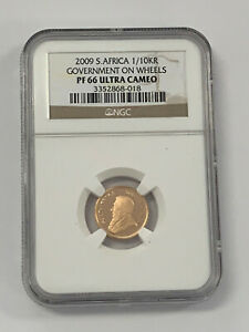 2009-S NGC PF66 Ultra Cameo 1/10 oz Krugerrand Government on Wheels Commem Coin*