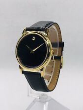 Movado Museum Black Dial Black Leather Strap Men's Watch 2100005