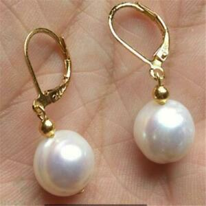 9-10mm SOUTH SEA WHITE PEARL DANGLE EARRING 14K GOLD Fashion Jewelry Luxury