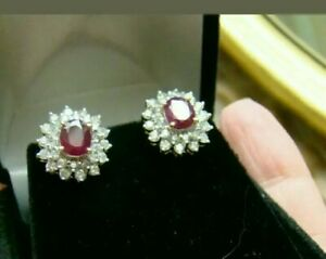 2.50 Ct Oval Cut Red Ruby & Diamond Halo Stud Earrings 14K Yellow Gold Finish