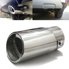 1× Universal Silver Stainless Steel Car Rear Round Exhaust Pipe Tail Muffler Tip