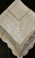 """VINTAGE CREAM TABLECLOTH 40""""x40"""" EMBROIDERED CROCHETED TRIMMINGS"""