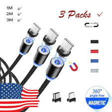 US Nylon Braided 1M/2M/3M Magnetic Charging Cable 3 Packs For Samsung iPhone Lot
