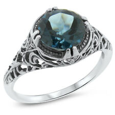 2 Ct GENUINE LONDON BLUE TOPAZ ANTIQUE STYLE 925 STERLING SILVER RING       #727
