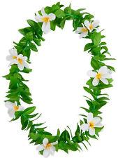 Green Leaf Leis Hawaiian Garland White Flowers Hula Hawaii Fancy Dress Necklace